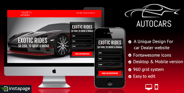 ThemeForest Auto Car Buy Rent Sale Instapage Landing Page 9529330