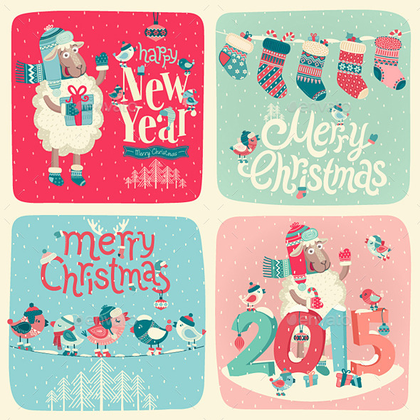 GraphicRiver Christmas Postcards Set 9625377