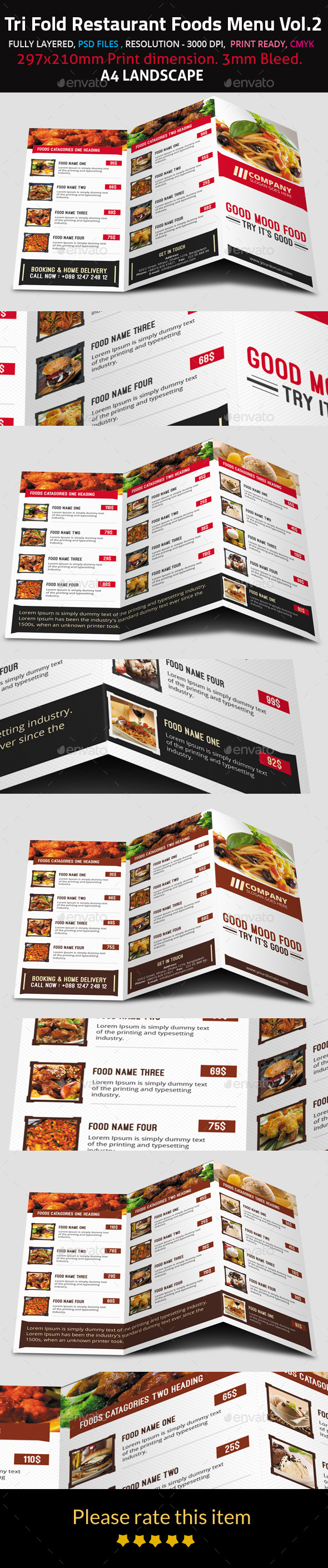 GraphicRiver Tri Fold Restaurant Foods Menu Vol.2 9625457