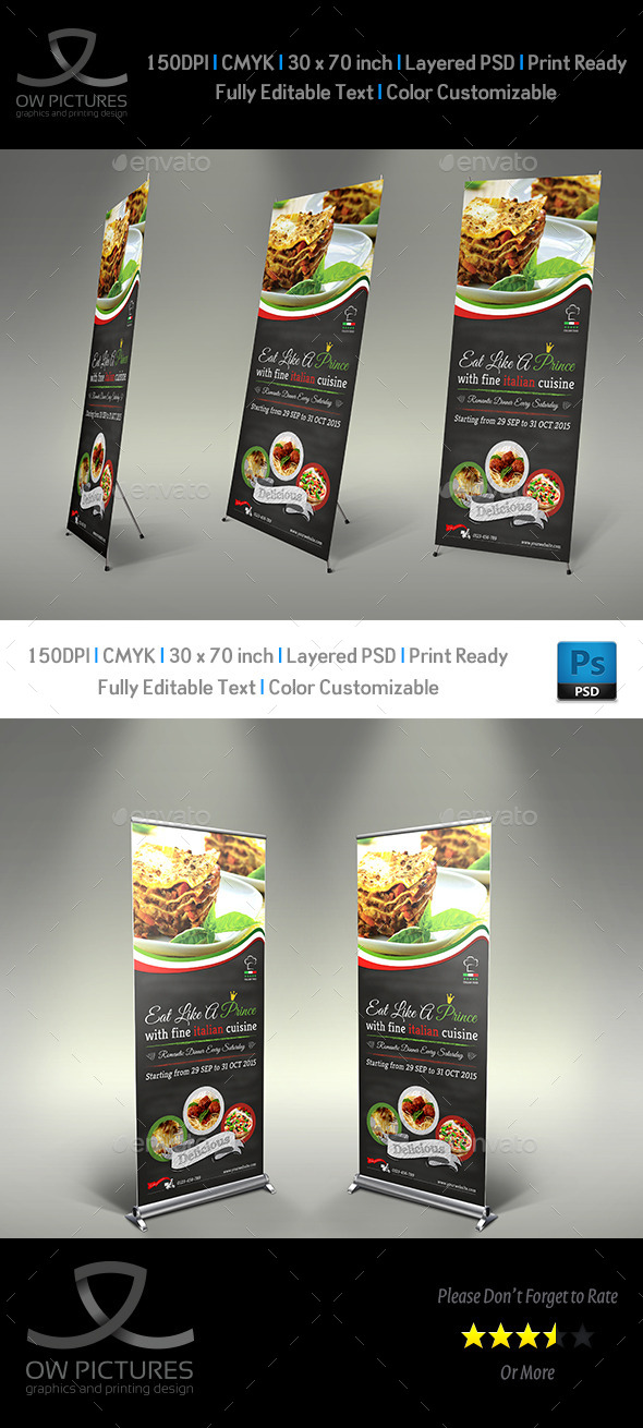 GraphicRiver Italian Restaurant Signage Roll Up Template 9625632