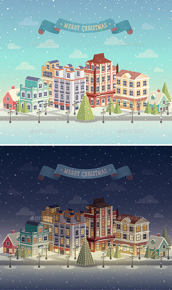 GraphicRiver Christmas Night and Day City 9625838