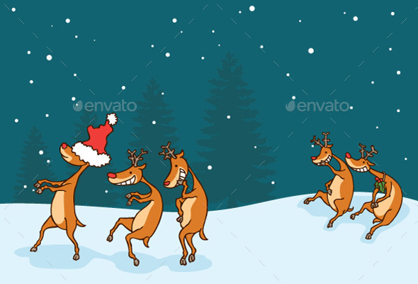 GraphicRiver Deer Playing Blindfold Game 9626172
