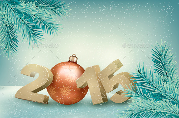 GraphicRiver Christmas Background with a 2015 9626393