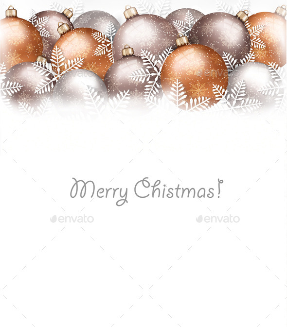 GraphicRiver Christmas Balls and Snowflake Holiday Background 9626396