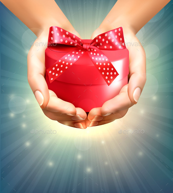 GraphicRiver Holiday Background with Hands Holding Gift Box 9626517