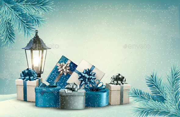 GraphicRiver Christmas Background with a Lantern and Presents 9626551