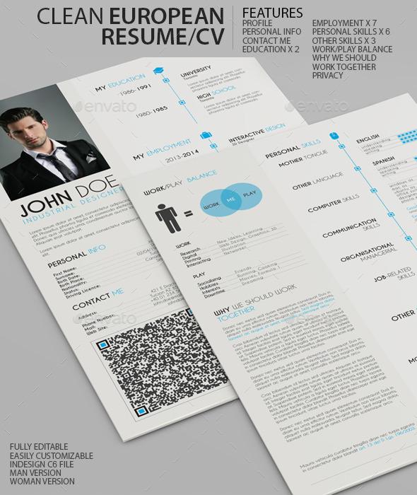 GraphicRiver Clean European Resume CV 9503181