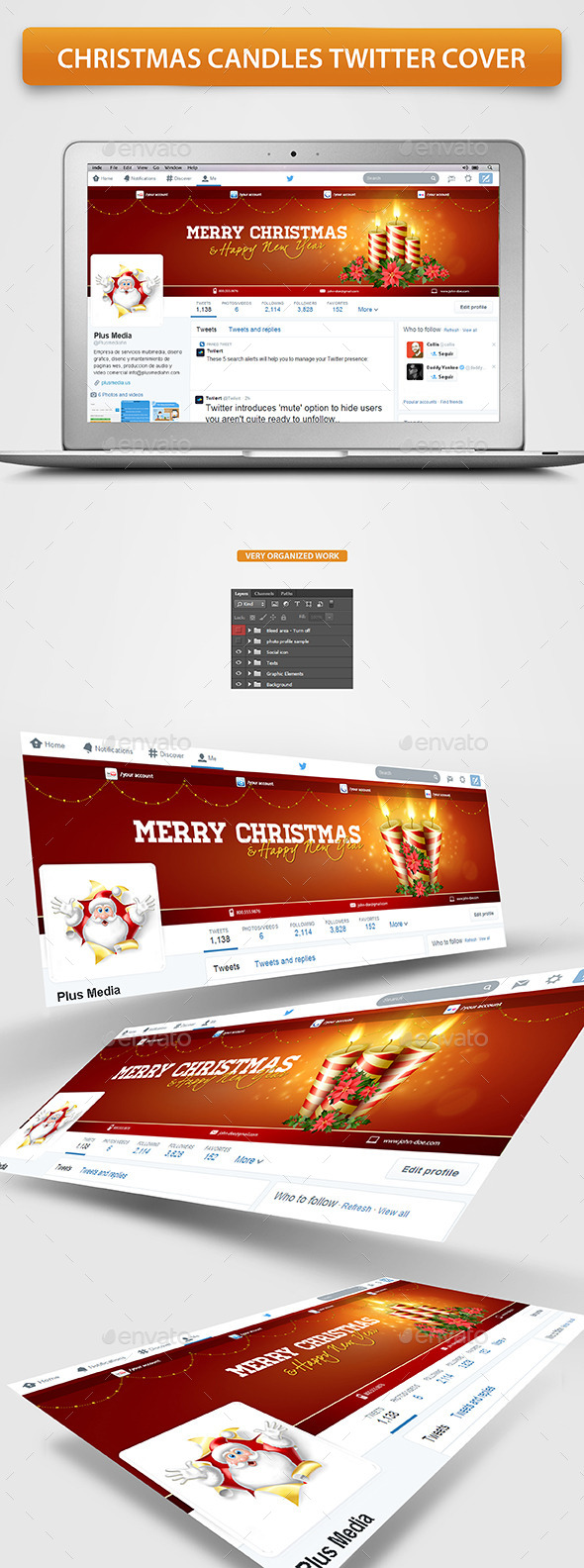 GraphicRiver Christmas Candles Twitter Cover 9626582