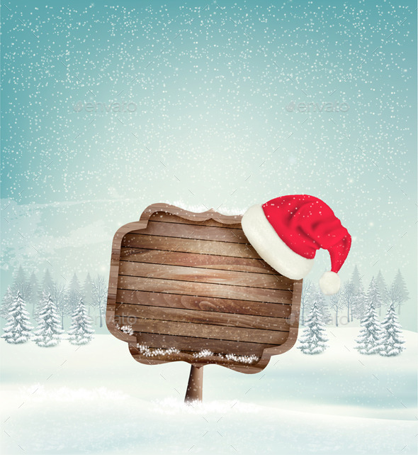 GraphicRiver Winter Christmas Landscape with a Wooden Sign 9626588