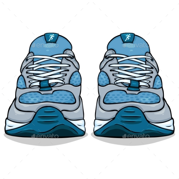 GraphicRiver Cartoon Single Blue Running Shoes 9626604
