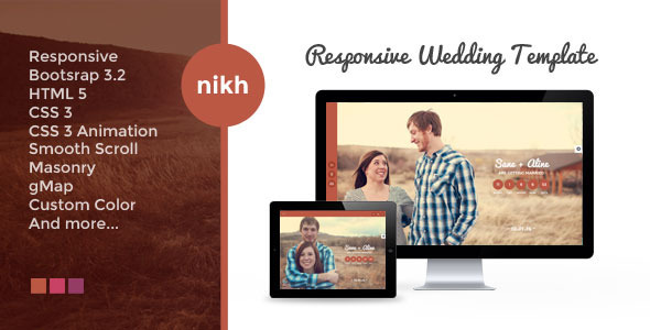 NIKH - Responsive HTML Wedding Template
