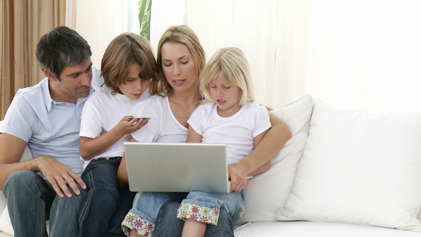 Family at Home Shopping Online