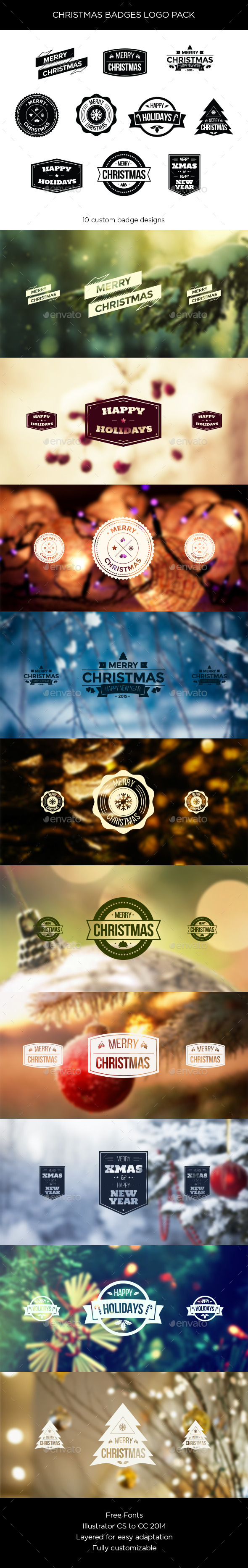 GraphicRiver Christmas Badges Logo Pack 9626932