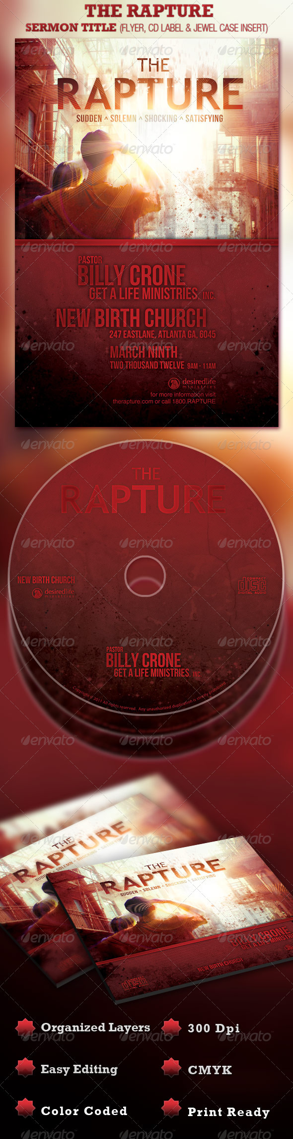 GraphicRiver The Rapture Sermon Title Flyer and CD Template 978095