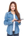 Young Woman use of tablet - PhotoDune Item for Sale