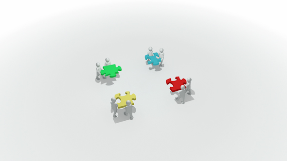VideoHive Animation Representing a Group of 3D Men Doing a Clourful Puzzle 9627747