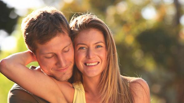 Attractive Couple Cuddling