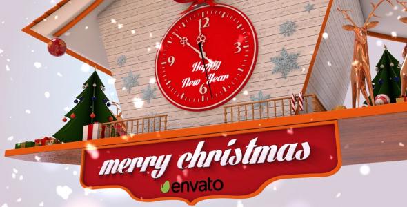 AE模板:2016圣诞新年节日快乐祝福钟声倒计时模版Christmas Cuckoo Clock免费下载