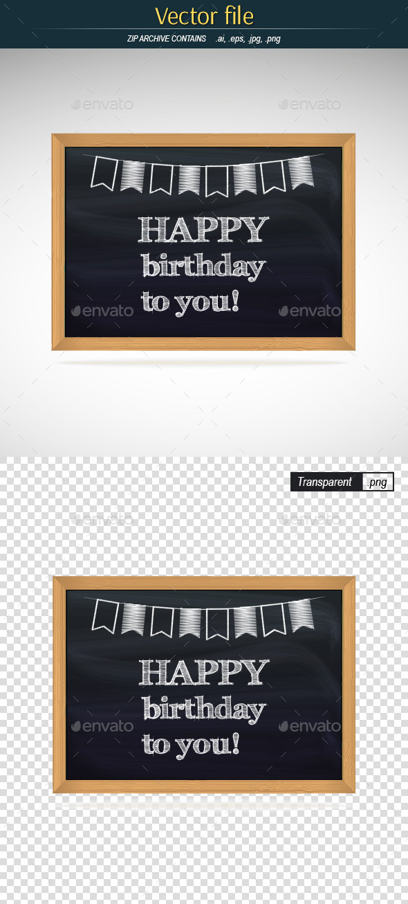 GraphicRiver Birthday Greetings Written in Chalk on Blackboard 9628065