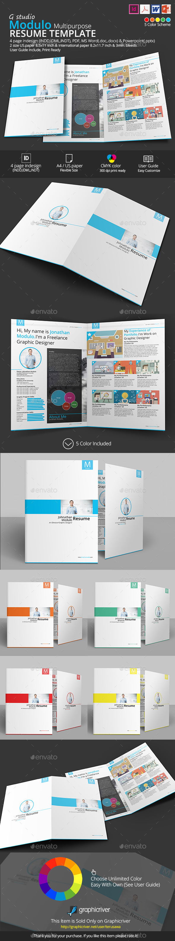 GraphicRiver Modulo Resume Template 9586318