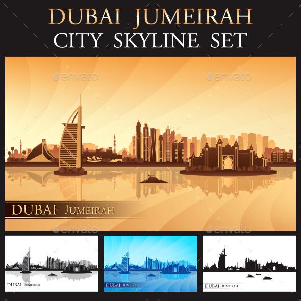 GraphicRiver Dubai Jumeirah Skyline Silhouettes Set 9628654