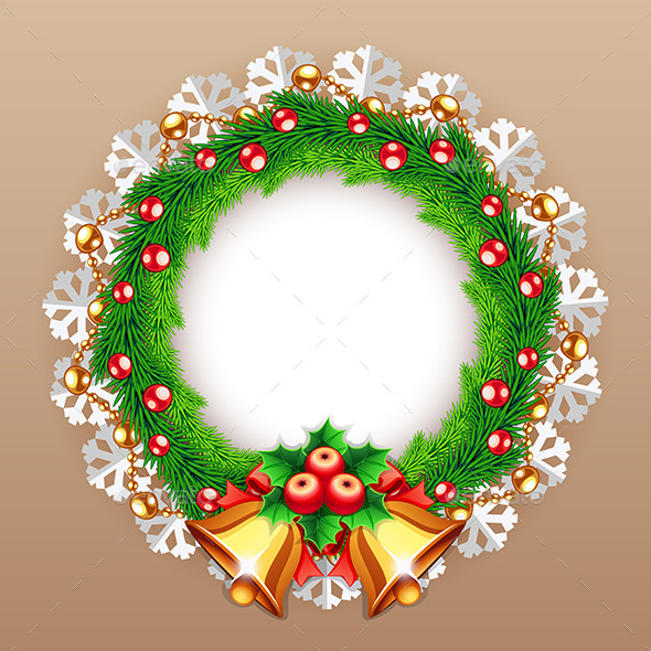 GraphicRiver Christmas Wreath with Bells 9612392