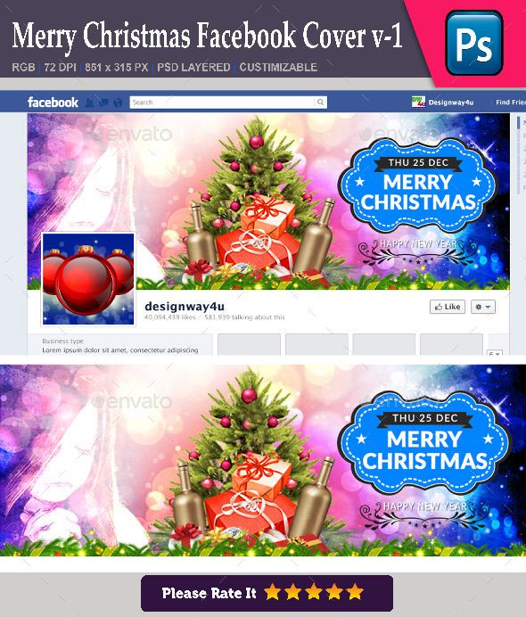 GraphicRiver Merry Christmas Facebook Cover v-1 9628811