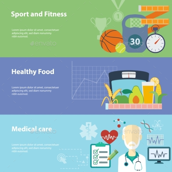 GraphicRiver Healthy Lifestyle Banners Set 9629052