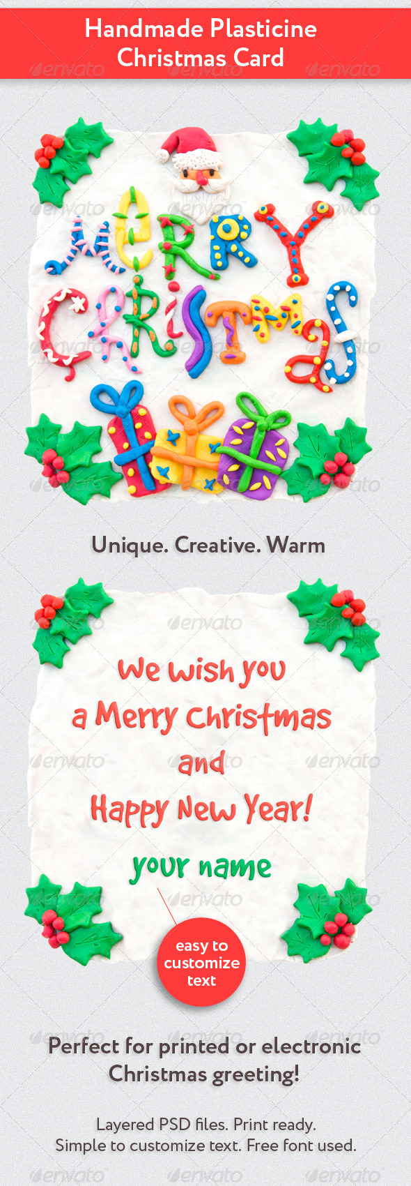 Handmade Plasticine Christmas Card - Holiday Greeting Cards
