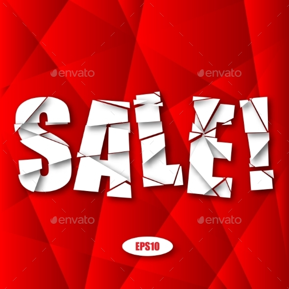 Sale Cut Paper Poster on Red Background