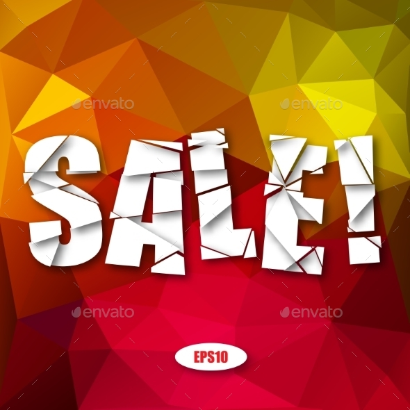 GraphicRiver Sale Cut Paper Poster on Bright Background 9629654