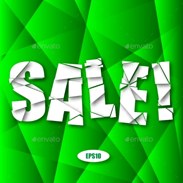 GraphicRiver Sale Cut Paper Poster on Green Background 9629666