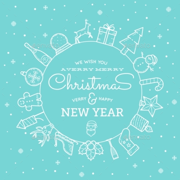 GraphicRiver Line Style Christmas and New Year Greeting Banner 9629936