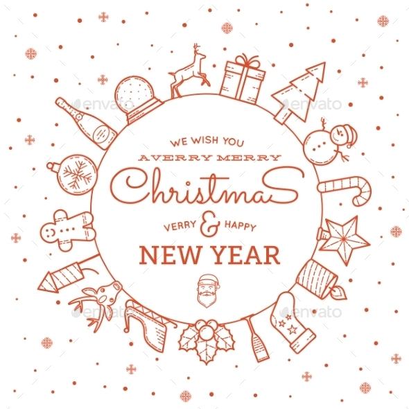 GraphicRiver Line Style Christmas and New Year Greeting Banner 9629937