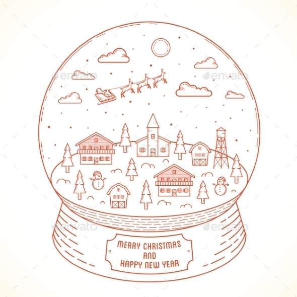 GraphicRiver Line Style Christmas and New Year Vector Snowball 9629961