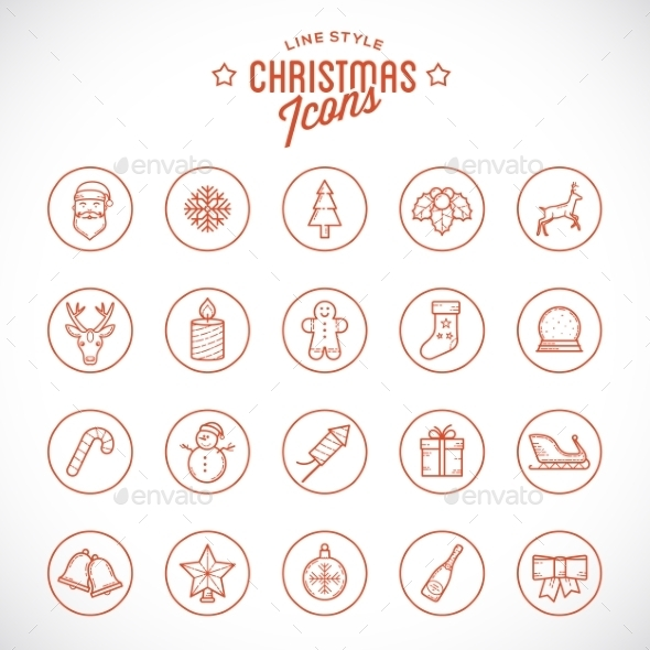 GraphicRiver Line Style Christmas and New Year Icon Set 9629965
