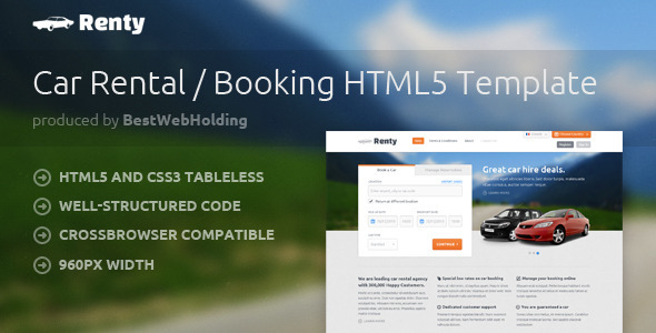 Renty - Car Rental & Booking HTML5 Template - Retail Site Templates