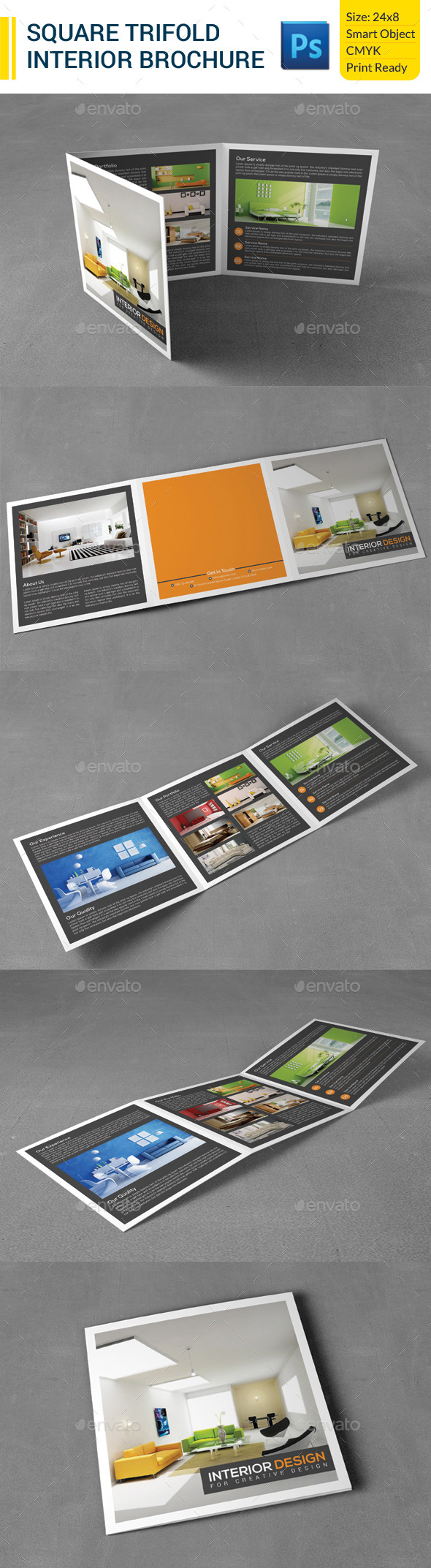 GraphicRiver Square Trifold Interior Brochure 9630003
