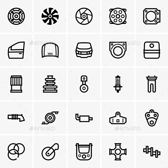 GraphicRiver Car Part Icons 9630005