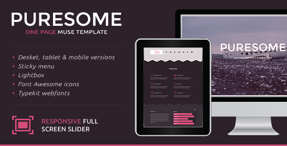 ThemeForest Puresome One Page Muse Template 9572549