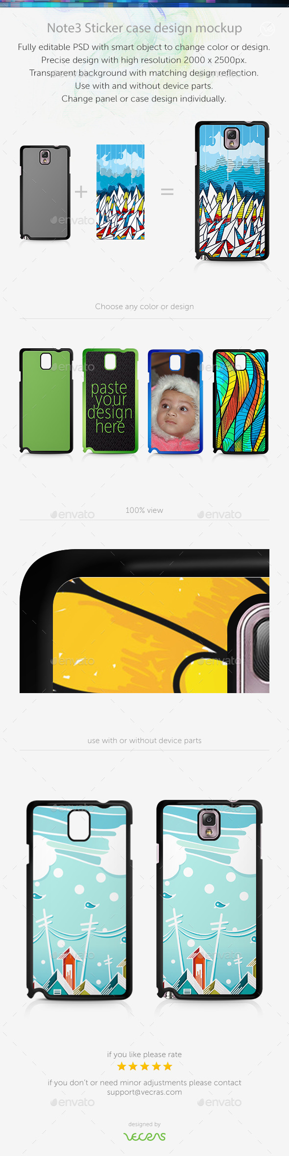 GraphicRiver Note3 Sticker Case Design Mockup 9630187
