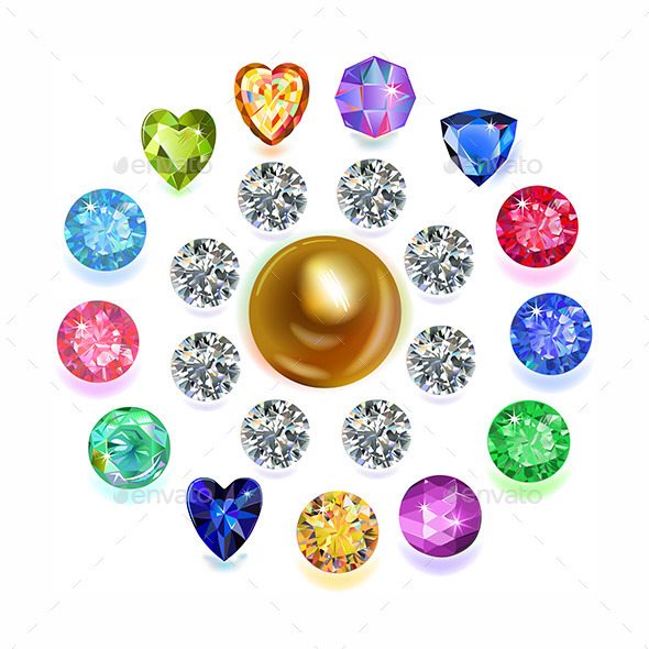 GraphicRiver Round Composition Colored Gems Set 9630353