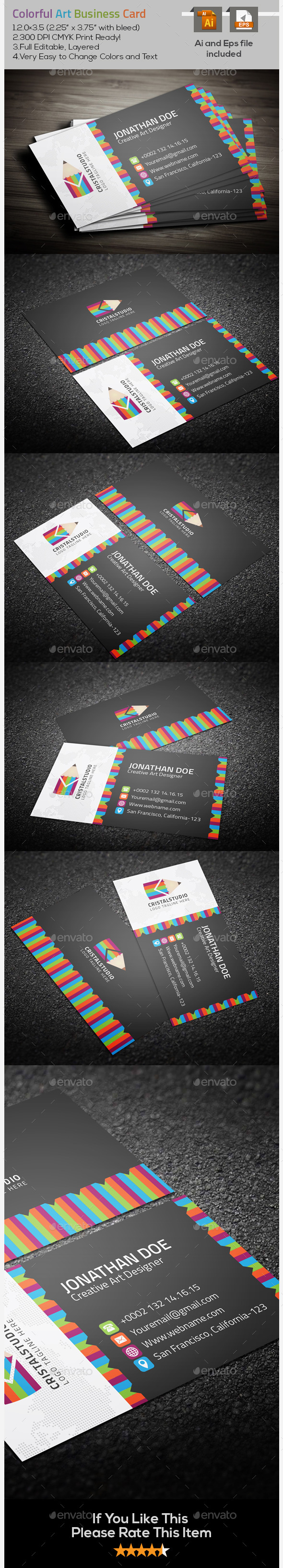 GraphicRiver Colorful Art Business Card 9630482
