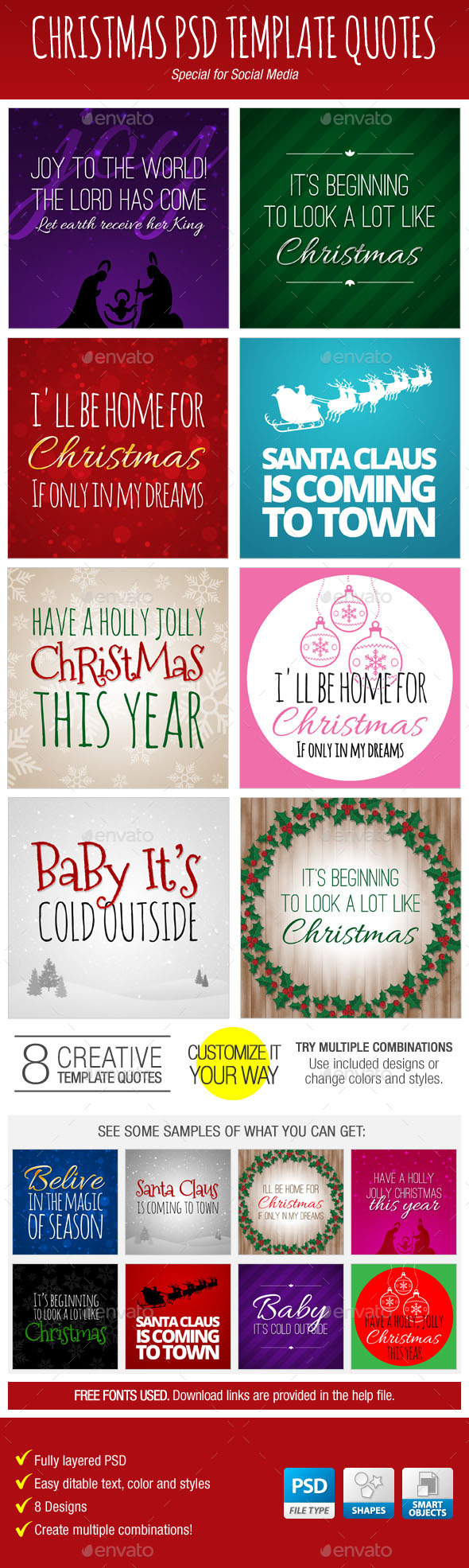 GraphicRiver Christmas PSD Template Quotes for Social Media 9584075