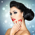 fashion woman with red lips, nails and creative hairstyle - PhotoDune Item for Sale
