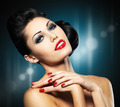 Woman with red nails and creative hairstyle - PhotoDune Item for Sale
