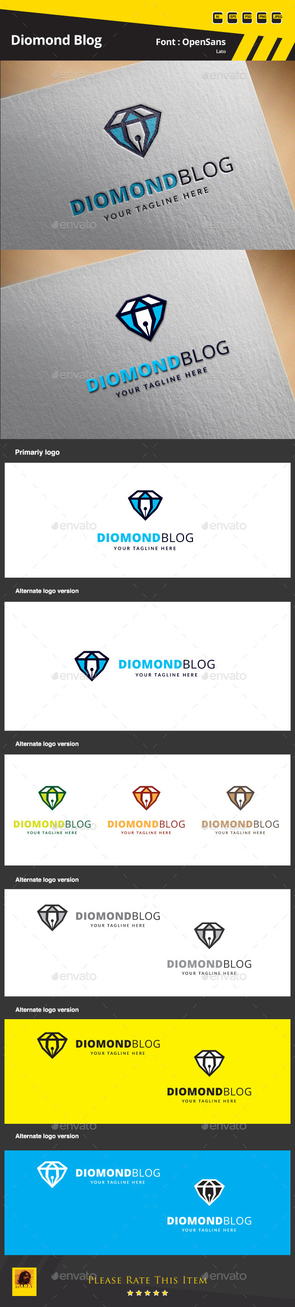 GraphicRiver Diamond Blog Logo Template 9630822