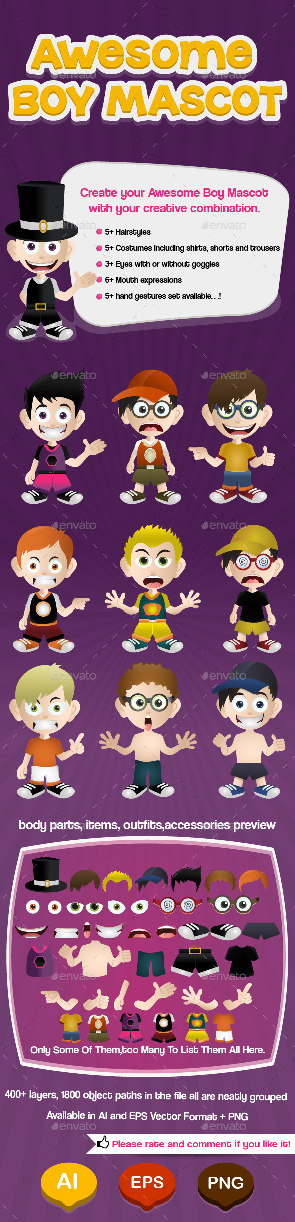 GraphicRiver Awesome Boy Mascot 9630854