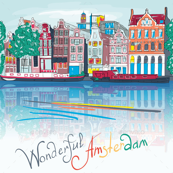 GraphicRiver City view of Amsterdam canal Illustration 9630898