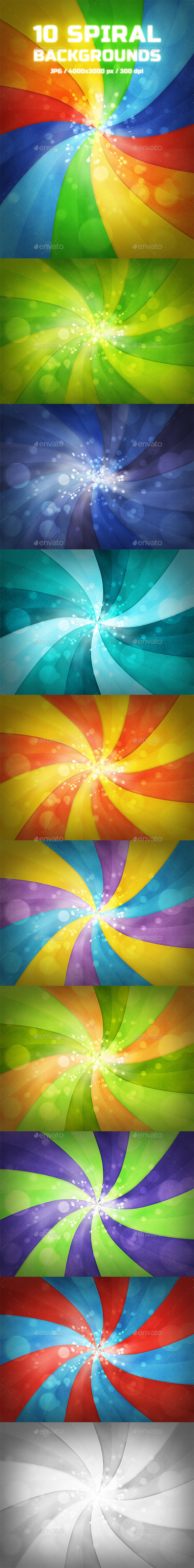 GraphicRiver 10 Spiral Backgrounds 9630901